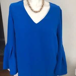 H&M blouse sleeve bell color blue size 8